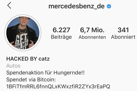 Hackerangriff auf Mercedes-Account bei Instagram