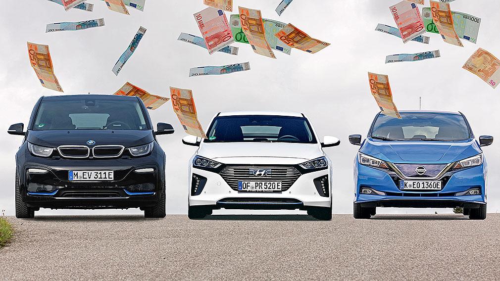 BMW i3  Hyundai Ioniq Elektro  Nissan Leaf e+ E-Autos profitieren von neuen Förderprämie - Montage  !! 16:9 !!