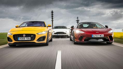 Aston Martin DB11, Jaguar F-Type R, McLaren GT