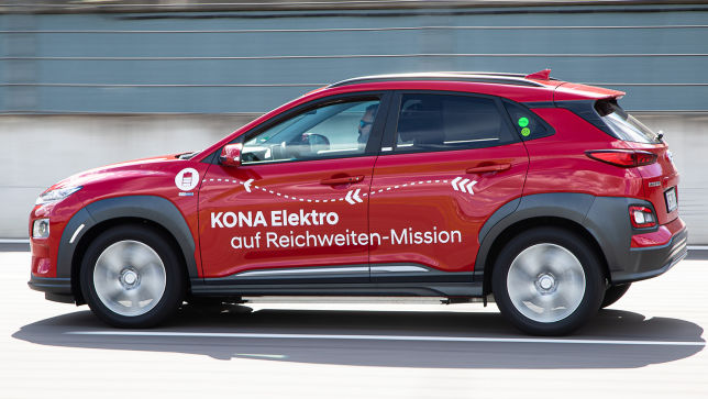 Reichweiten-Rekord im Hyundai Kona Elektro