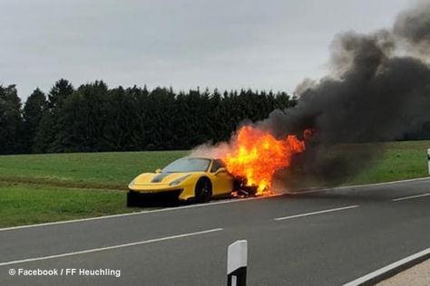 Ferrari 488 Pista Spider: Fail, Brand, Schaden
