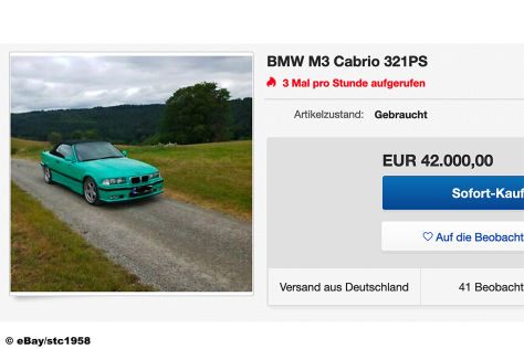 BMW E36 M3 Cabrio (1997): Gebraucht, kaufen, Motor, Felgen