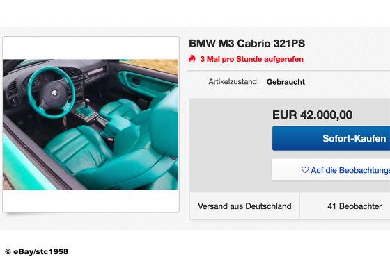 BMW M3 E36 Cabrio in abgedrehter Farbkombination zu verkaufen