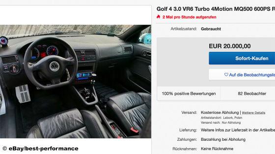 Einzigartiger Turbo-Golf mit VR6 und 600 PS zu verkaufen!