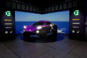 Lila Hamilton-Auto mit Wasserstoff-Power