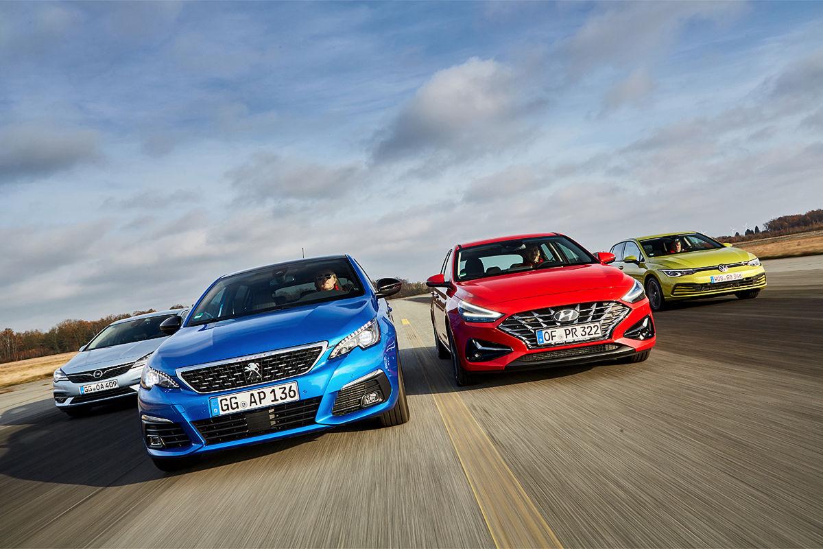 Opel Astra 1.2 Turbo       Peugeot 308 130 e-THP        Hyundai i30 1.0 T-GDI.         VW Golf 1.0 eTSI