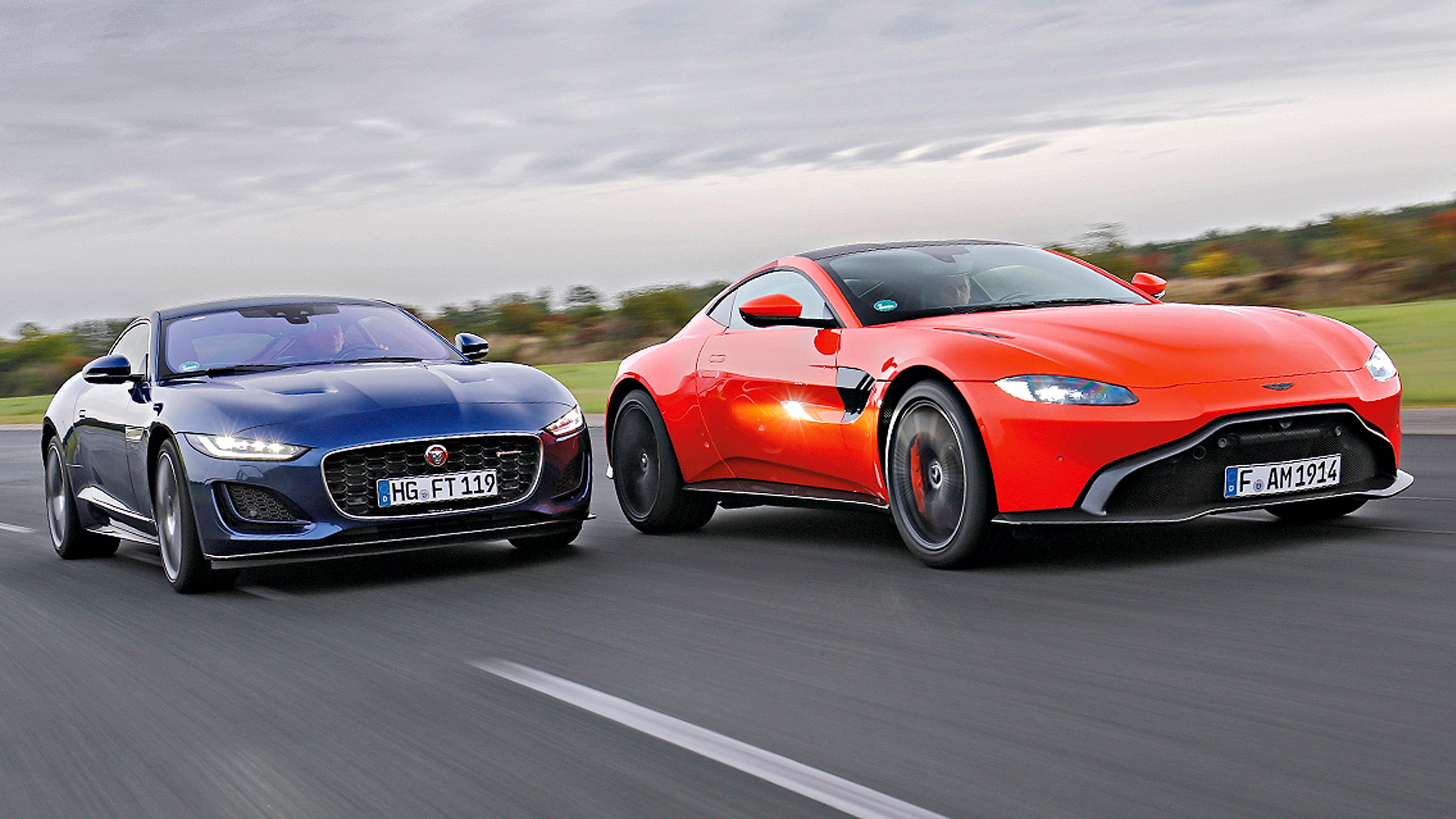 Aston Martin Vantage Vs Jaguar F Type Test V8 Motor Preis Autobild De