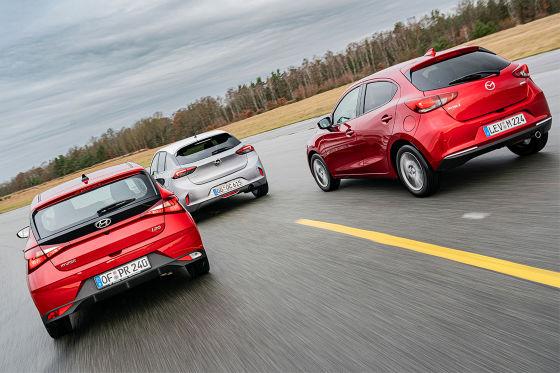 Hyundai i20 1.0 T-GDI 48V-Hybrid        Opel Corsa 1.2 DI Turbo        Mazda 2 Skyactiv-G 90 M Hybrid