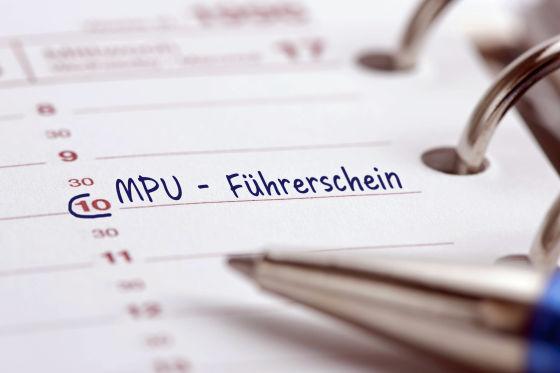 MPU für Führerschein als Eintrag im Terminkalender