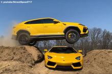 Lamborghini Urus Sprung über Lamborghini Aventador