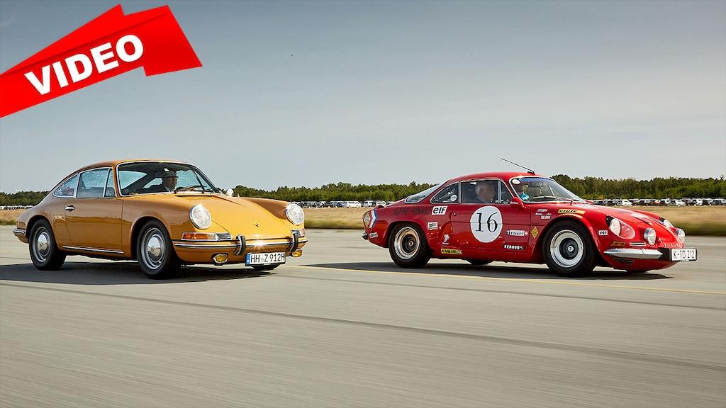 Flinke Alpine A110 versägt Porsche 912 auf der Strecke