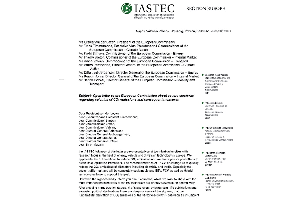 IASTEC Brief an EU-Kommission