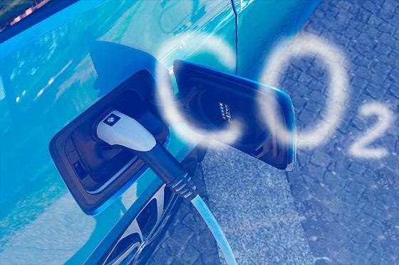 Elektroauto mit CO2 Wolke Montage