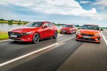 Mazda 3 e-Skyactiv X     Ford Focus 1.5 EcoBoost       Kia Ceed 1.5 T-GDI