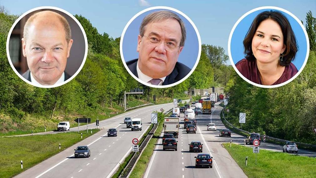 Olaf Scholz, Armin Laschet, Annalena Baerbock Verkehrspolitik