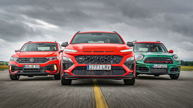 VW T-Roc R, Hyundai Kona N, Mini JCW Countryman: Test