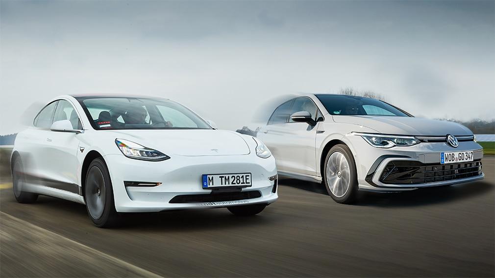 Tesla auf Überholspur VW Golf