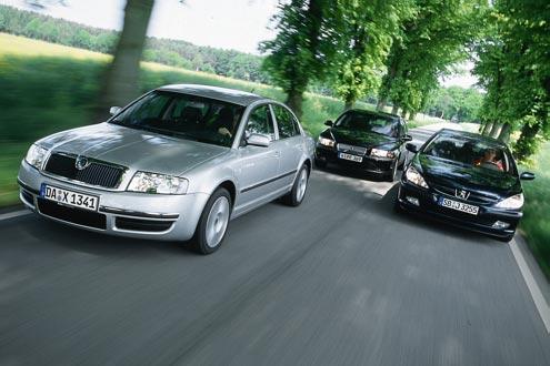 Skoda Superb gegen Volvo S80 und Peugeot 607
