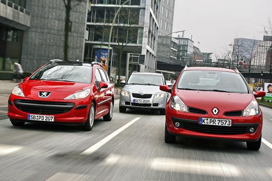 Vergleich Skoda Fabia Combi, Peugeot 207 SW, Renault Clio Grandtour