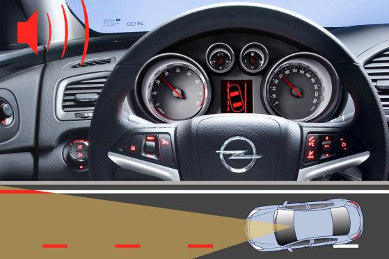 Der Spurhalteassistent erkennt mittels Strich- und Längsstrukturen die Fahrbahn. Droht ein Abflug von der Piste, warnt das System per Gong und Blinksignal im Kombi-Instrument.