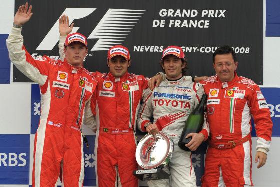 Formel 1 2008 Podium Massa Raikkönen Trulli Baldisseri