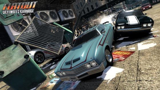 """Hier wird um den ersten Platz gerangelt und nicht gefahren: Der Online-Modus von """"Flatout Ultimate Carnage""""."""