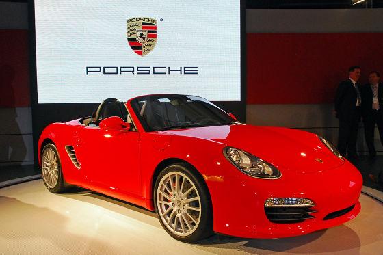 Bunt ist es in Los Angeles nur bei den Europäern oder Asiaten. Hier glänzt der neue Porsche Boxster.