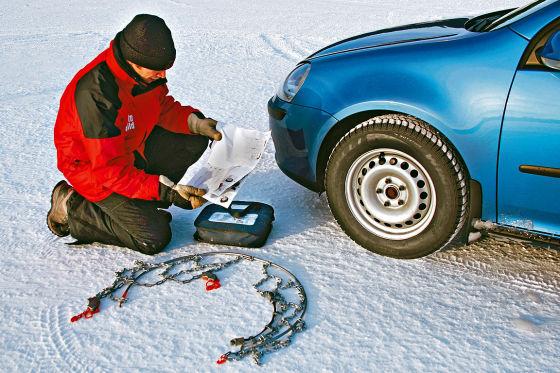 Test Schneeketten auf Reifengröße E 205/55 R16