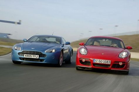 Porsche Cayman S Gegen Aston Martin V8 Vantage Autobild De