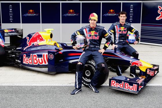 Red Bull RB5 Launch, Sebastian Vettel (links) und Mark Webber