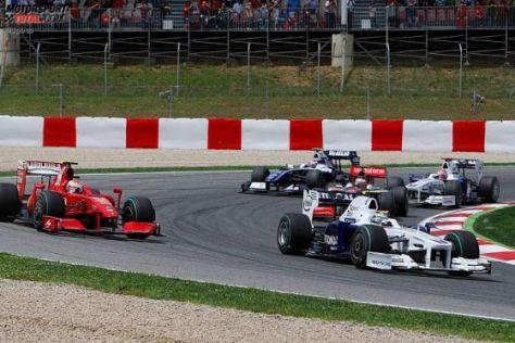 Formel 1, GP von Spanien 2009, Heidfeld vor Räikkönen, Kovalainen und Kubica