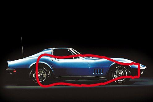 """Der Bauch einer liegenden Cola-Flasche soll zu der """"Schluckauf""""-Form der Chevrolet Corvette geführt haben."""