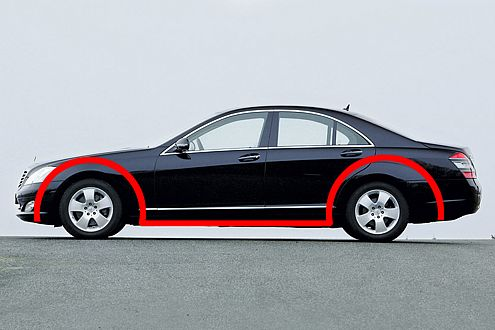 Mercedes S-Klasse: Pausbacken an den Radausschnitten sollen an alte Zeiten erinnern.