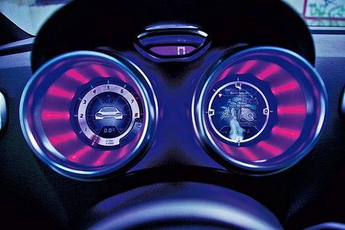 Spacig: Die Instrumenet im typischen VW-Nachtdesign sind schlecht ablesbar.