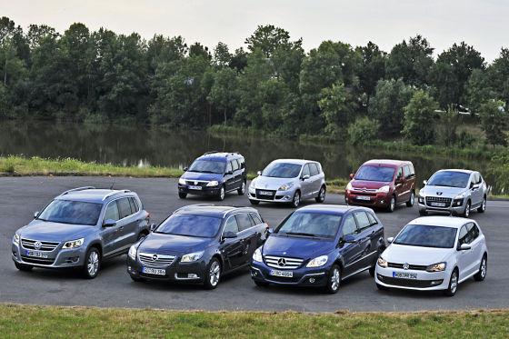 VW Polo Dacia Logan Peugeot 3008 Citroën Berlingo Mercedes B-Klasse Renault Scénic VW Tiguan Opel Insignia