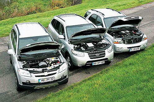 Pferde-Schau (v.l.): Chevi und Hyundai haben 150, der Kia 170 PS.