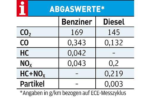 Bei den Abgaswerten ist der TDI trotz Partikelfilter dem Benziner unterlegen.