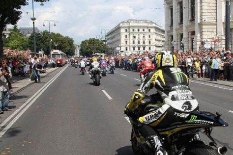 Riesenerfolg: Die MotoGP-Stars gabe sich am Mittwoch in Wien die Ehre