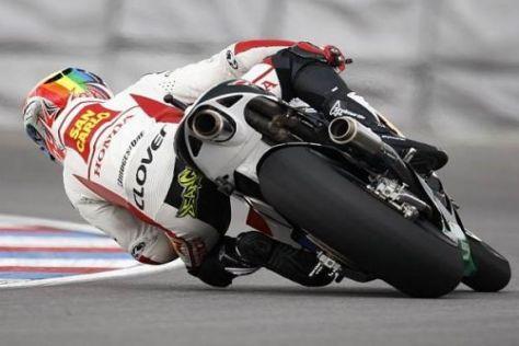 Alex de Angelis zeigte allen Gegnern im Warmup seine Honda-Endrohre
