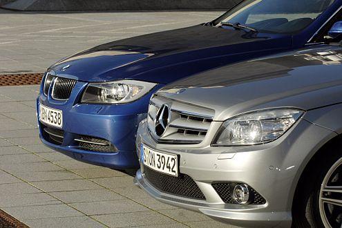 Die geht dem 3er an die Nieren: Mercedes C-Klasse mit Stern im Grill.