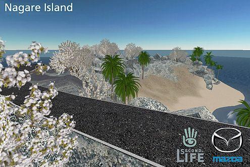 Auf diesem Inselsträßchen von Second Life wird der Hakaze ab dem 15. Februar 2007 virtuell Gas geben.