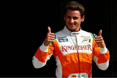 Daumen hoch: Adrian Sutil fühl sich bei Force India derzeit pudelwohl