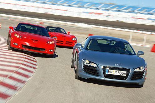 Drei für die Rennstrecke: Audi R8, Corvette Z06, Viper SRT-10.