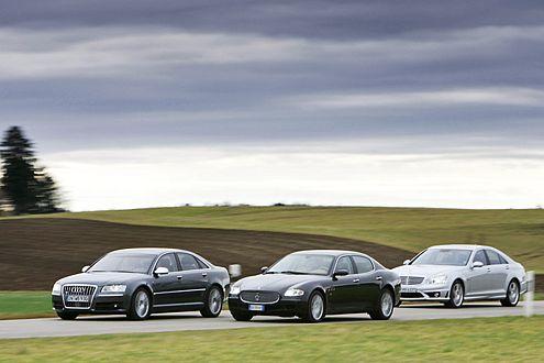 Sport und Luxus: Audi S8, Maserati Quattroporte und Mercedes S 63 AMG.