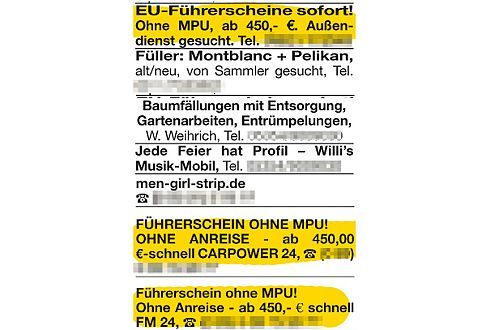 """Kriminelle Angebote im Anzeigenblatt """"Wolfenbütteler Schaufenster""""."""
