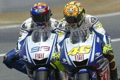 Noch ist Valentino Rossi im Vergleich mit Jorge Lorenzo knapp vorne