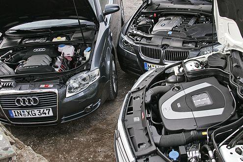 Dreimal sechs Richtige: Audi A4 3.2 FSI, BMW 330i, Mercedes C 350.
