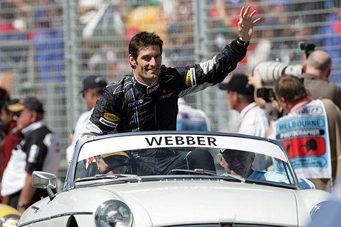 Erotischster Mann Australiens: Mark Webber bei der Fahrerparade.