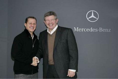 Bei Mercedes wieder vereint: Michael Schumacher und Teamchef Ross Brawn