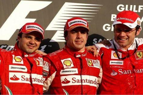 Ferrari-Podium in Bahrain: Felipe Massa, Fernando Alonso, Stefano Domenicali